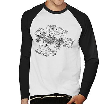 Motorsport Images McLaren MP4 2 Separated View Men's Baseball Long Sleeved T-Shirt