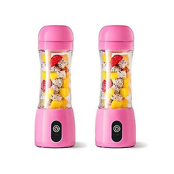 Soga 2X 380Ml Mini Usb Rechargeable Handheld Fruit Mixer Juicer Pink