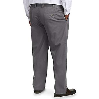 Essentials Men's Big & Tall Relaxed-fit Wrinkle-Resistant Flat-Front Chino Pant fit by DXL, Gray 52W x 30L