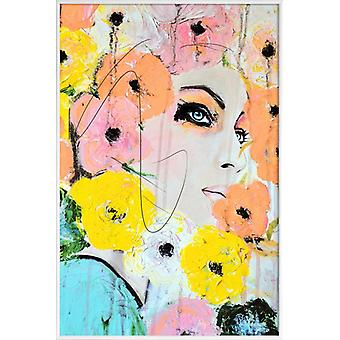 JUNIQE Print - Collide - Floral Poster in Colorful & Yellow