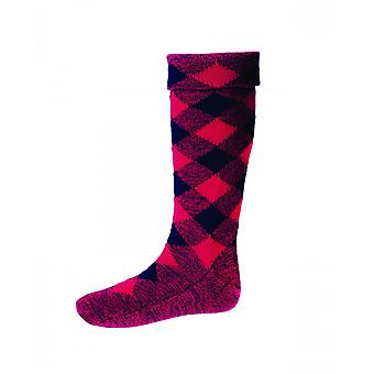 House of Cheviot Highland Hose Diced Hose ~ Tartan Red & Navy