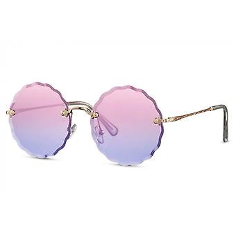 النظارات الشمسية السيدات جولة القط بلا حواف. 2 الذهب / الوردي