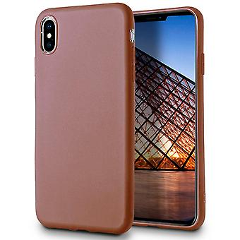 Soft Thin Mobile Protection pour iPhone X/XS Silicone Solid Color Ultra-Slim Light Brown