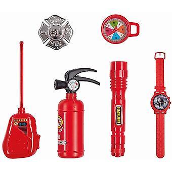 Feuerwehr Set 6 tlg. Feuerlöscher, Abzeichen Kinderset Jungen Karneval Brandlöscher