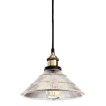 1 Lichte Koepel plafond hanger antieke messing, helder geribbeld glas, E27