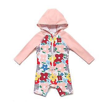Bonverano Girls UPF 50+ Sun Protection 3/4 Sleeves Zipper Sunsuit Hooded