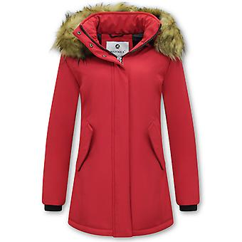 Winter Coat With Imitation Fur Collar - Slim Fit - Red