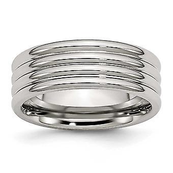 Incisione in acciaio inossidabile scanalato 8mm lucidato Band Ring - anello Dimensione: 6-13