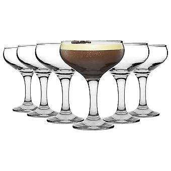 6 Piece Espresso Martini Cocktail Glasses Set - Vintage Style Champagne Coupe Saucers - 200ml