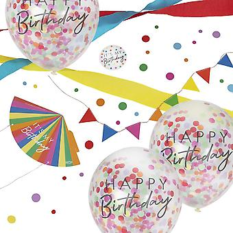 Happy Birthday Work Desk Party Kit Bunting Hat Balloons Badge Streamers