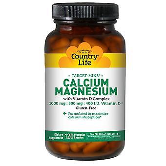 Country Life Kalsium-Magnesium Target-Mins, D-vitamiini, 120 korkkia
