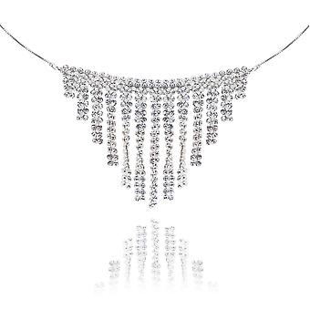 Ah! Jewellery Crystals From Swarovski Drop Mesh Necklace, 45cm Sterling Silver Snake Chain Included