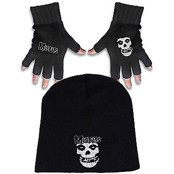Misfits Beanie Hat and Glove Logo and Fiend Band Logo new Official Gift set