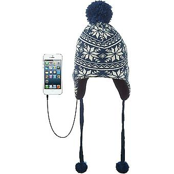 KitSound Audio Peruvian Cable Knit Beanie with Built-In Headphones - White/Navy