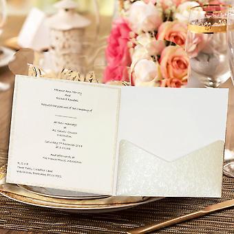 10 FAIDA Square (Dandy White) Applique Pocketfold Invitation NO Flap.