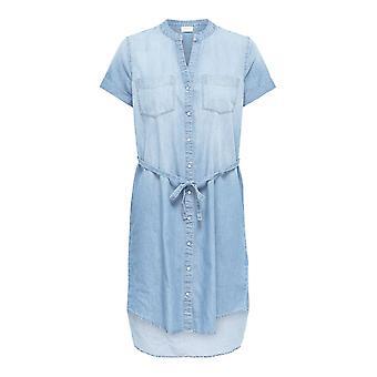 Women's Shirt Dress Denim Look Blouse Longshirt Cotton Jeans Short Sleeve Casual
