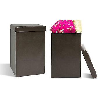 Taburete de cubo alto de almacenamiento plegable otomano, asiento acolchado de cuero PU surtido