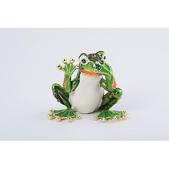 Green Frog Speak No Evil Trinket Box