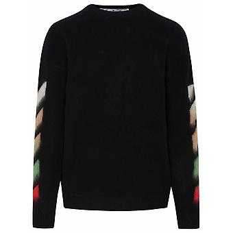 Off-white Omha036r21kni0011084 Mænd's Black Wool Sweater