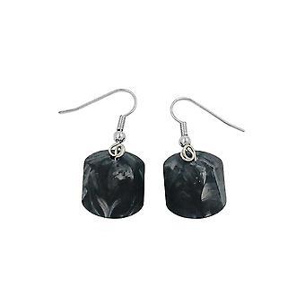 Haken Ohrringe grau schwarz marmoriert Perlen