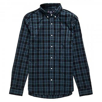 Superdry Clássico london b.d. l/s camisa teal azul check 4Dx