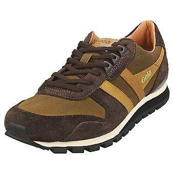 Gola Lowland Millerain Mens Casual Trainers in Olive Brown