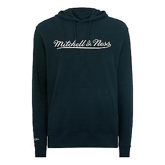 Mitchell & Ness Script Logo Navy Hoodie Mens Hooded Pullover Jumper A40D