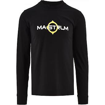 MA.STRUM Black Long Sleeve Logo Print T-Shirt