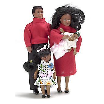 Casa de muñecas miniatura moderna familia negra de 4 personas bendable Poseable 1:12