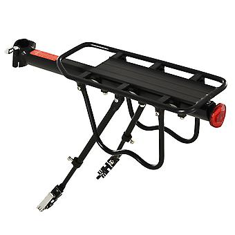 HOMCOM Aluminum Rear Bike Pannier Rack Carrier Max 25kg Load, Adjustable Bicycle Back Seat Rack Holder w/ Red Reflector For Cycling Camping Touring Sport