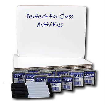 """Dry Erase Board 9"""" X 12"""" + Pen + Student Eraser Set, 12 Sets"""