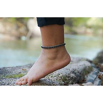 Black Band Boho Silver Anklet