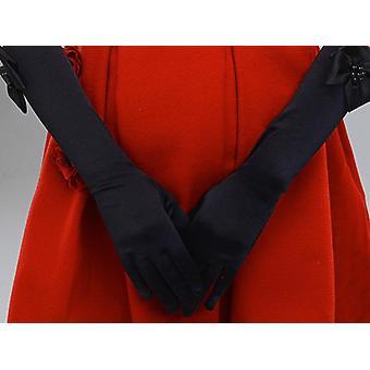 Elastic Formal Etiquette Gloves, Flower Satin, Bow Pearl Long Lace Glove