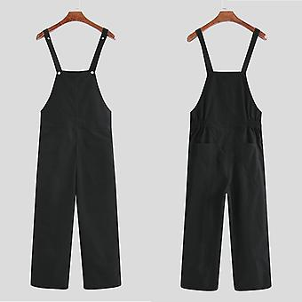 Men Cargo Overalls Jumpsuit, Joggers Pockets, Casual Suspender Bib Pants, Men