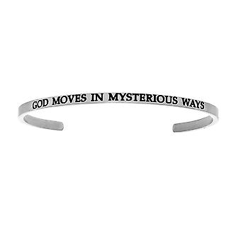 """Intuitions Stainless Steel GOD MOVES IN MYSTERIOUS WAYS Diamond Accent Cuff  Bangle Bracelet, 7"""""""