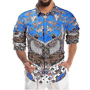 YANGFAN Men's Printed Long Sleeve Shirt Pointed Collar