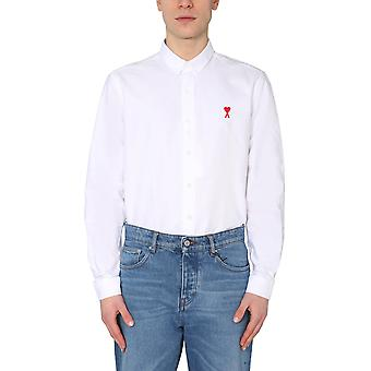 Ami Bfhc01345100 Men's White Cotton Shirt