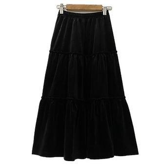 Dívky Velvet Flare Maxi Dlouhé sukně, Podzimní zimní ležérní velour volán