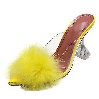 夏の女性PVC透明な羽パースペックスクリスタルハイヒールポンプ