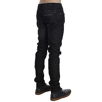 Acht Black Cotton Stretch Slim Fit Loose Leg Jeans