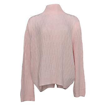 Lisa Rinna Collection Women's Sweater Textured Wide Sleeve Pink A349567