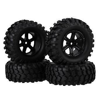 4 Set RC 1:10 Rock Crawler schwarz Gummi Reifen & Kunststoff 6 Speichen Rad Rand