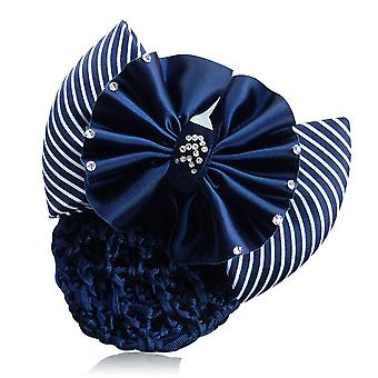 Ribbon Bowknot Net Bun Snood Hairpin Hair Clip For Women