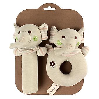 2pcs Elephant Cute Shaking Rattle Stick With Bb Device Bell Colorful Baby Hand Grab