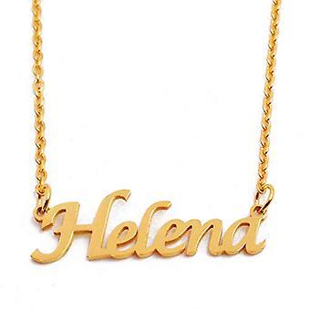 KL هيلينا - قلادة نسائية مطلية بالذهب مع الاسم والاسم والموضة وفكرة هدية لصديقة، أمي، شقيقة