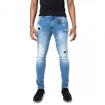 Amicci Sandro Skinny Fit Stretch Mid Blue Denim Rip & Repaired Jeans