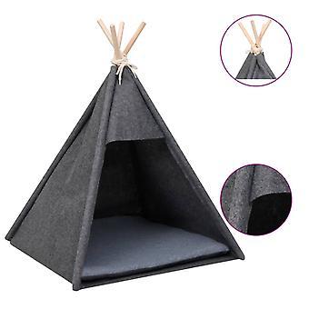 vidaXL Cat Tipi Tent met Tas Velvet Zwart 60x60x70 cm