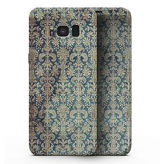 Padrão grungy blue and tan rococo - Samsung Galaxy S8 Pele de corpo inteiro