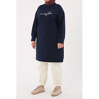 Comfy Embroidered Sweatshirt Tunic