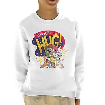 Pojke flicka hund katt musost grupp kram kid's sweatshirt